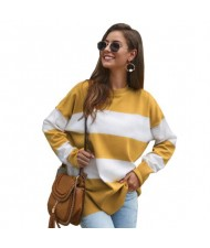 Strips Design Casual Style Long Sleeves High Fashion Women Top - Yellow