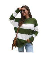 Strips Design Casual Style Long Sleeves High Fashion Women Top - Green