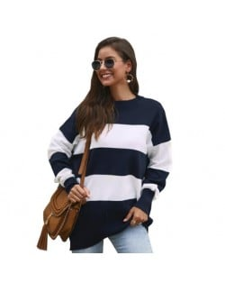 Strips Design Casual Style Long Sleeves High Fashion Women Top - Blue