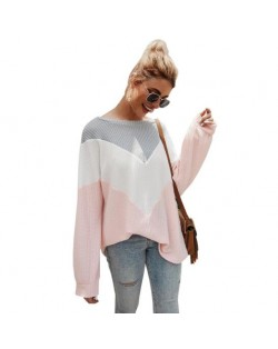 High Fashion Casual Style Long Sleeves Joint Design Women Sweater - Pink