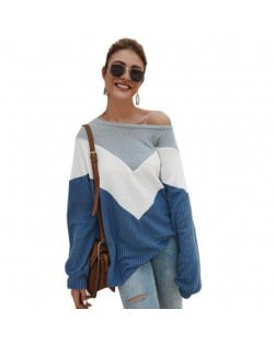 High Fashion Casual Style Long Sleeves Joint Design Women Sweater - Blue