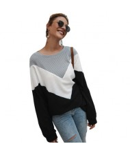 High Fashion Casual Style Long Sleeves Joint Design Women Sweater - Black