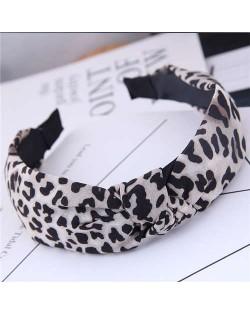 Korean Fashion Leopard Prints Bowknot Design Women Cloth Hair Hoop - White