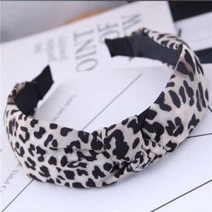 Korean Fashion Leopard Prints Bowknot Design Women Cloth Hair Hoop - White