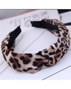 Korean Fashion Leopard Prints Bowknot Design Women Cloth Hair Hoop - Brown