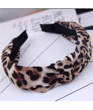 Korean Fashion Leopard Prints Bowknot Design Women Cloth Hair Hoop - Brown