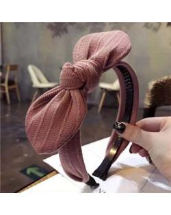 Cloth Bowknot Graceful Style Korean Fashion Women Hair Hoop - Pink
