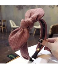 Cloth Bowknot Graceful Style Korean Fashion Women Hair Hoop - Pink