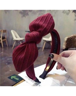 Cloth Bowknot Graceful Style Korean Fashion Women Hair Hoop - Red