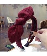 Cloth Bowknot Graceful Style Korean Fashion Women Hair Hoop - Red