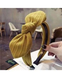 Cloth Bowknot Graceful Style Korean Fashion Women Hair Hoop - Yellow