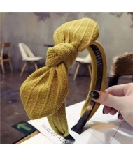 Cloth Bowknot Graceful Style Korean Fashion Women Hair Hoop - Yellow