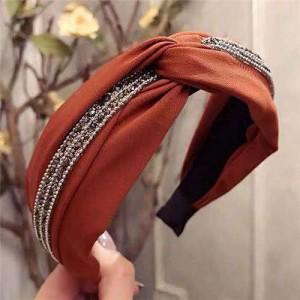 Rhinestone and Beads Embellished Knot Pattern Women Cloth Hair Hoop - Coffee