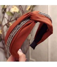 Rhinestone and Beads Embellished Knot Pattern Women Cloth Hair Hoop - Coffee