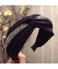 Rhinestone and Beads Embellished Knot Pattern Women Cloth Hair Hoop - Black