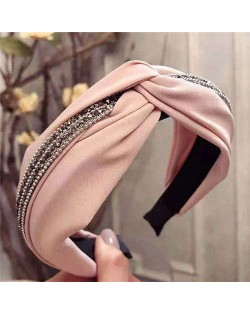 Rhinestone and Beads Embellished Knot Pattern Women Cloth Hair Hoop - Pink