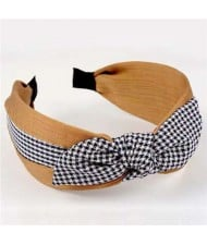 Lattice Bowknot Design Korean Fashion Cloth Women Hair Hoop - Khaki