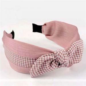 Lattice Bowknot Design Korean Fashion Cloth Women Hair Hoop - Pink