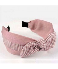 Lattice Bowknot Design Korean Fashion Cloth Women Hair Hoop - Pink