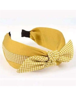 Lattice Bowknot Design Korean Fashion Cloth Women Hair Hoop - Yellow