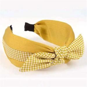 Lattice Bowknot Design Korean Fashion Cloth Women Hair Hoop - Yellow