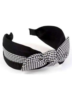 Lattice Bowknot Design Korean Fashion Cloth Women Hair Hoop - Black