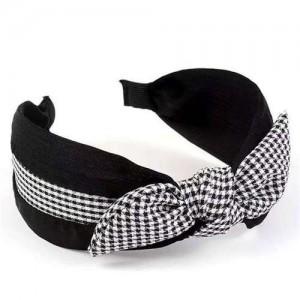 Lattice Bowknot Design Korean Fashion Cloth Women Hair Hoop - Black