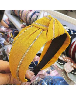 Paillettes Embellished Knot Fashion Cloth Women Hair Hoop - Yellow