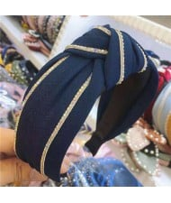Paillettes Embellished Knot Fashion Cloth Women Hair Hoop - Dark Blue