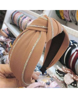 Paillettes Embellished Knot Fashion Cloth Women Hair Hoop - Coffee