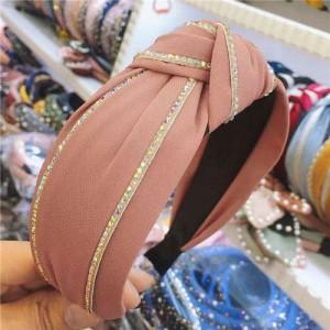 Paillettes Embellished Knot Fashion Cloth Women Hair Hoop - Dark Pink