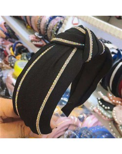 Paillettes Embellished Knot Fashion Cloth Women Hair Hoop - Black