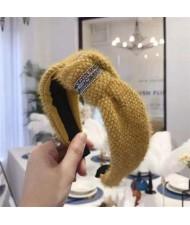 Rhinestone Embellished Plush Fashion Winter Style Women Hair Hoop - Yellow