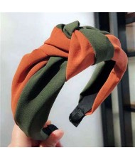 Contrast Colors Design Knot Style Cloth Women Hair Hoop - Green