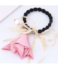Trumpet Flower Pearl and Bowknot Decorated Korean Fashion Hair Band - Pink