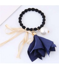 Trumpet Flower Pearl and Bowknot Decorated Korean Fashion Hair Band - Royal Blue