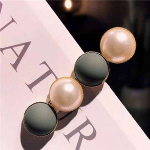 Resin Beads and Artificial Pearl Alloy Women Hair Barrette - Green