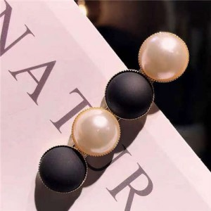 Resin Beads and Artificial Pearl Alloy Women Hair Barrette - Black