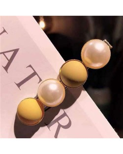 Resin Beads and Artificial Pearl Alloy Women Hair Barrette - Yellow