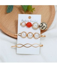 Artificial Pearl and Gems Combo Three Pieces Hair Barrette and Clips Set - Red
