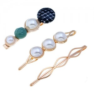 Artificial Pearl and Gems Combo Three Pieces Hair Barrette and Clips Set - Green