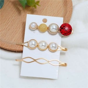 Artificial Pearl and Gems Combo Three Pieces Hair Barrette and Clips Set - Yellow