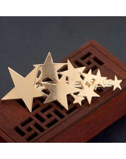 Lucky Stars Shining Fashion Alloy Women Hair Barrette - Golden