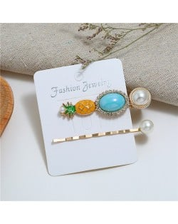 Rhinestone and Pearl Embellished Flower and Butterfly Design 3pcs Women Hair Barrette and Clips Set - White