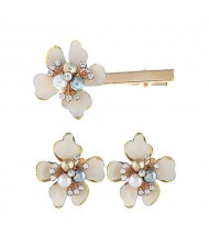 Sweet Vintage Style Flower Design Women Earrings and Hair Barrette Set - White