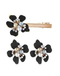 Sweet Vintage Style Flower Design Women Earrings and Hair Barrette Set - Black