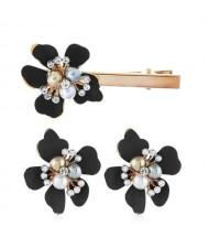 Sweet Vintage Style Flower Design Women Earrings and Hair Barrette Set - Black
