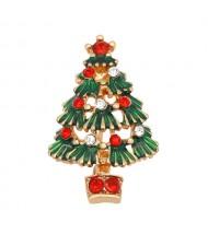 Oil-spot Glazed Christmas Tree Design High Fashion Brooch - Green