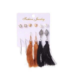Brown and Black Cotton Threads Tassel and Hoops 6 pcs Bohemian Fashion Earrings Set