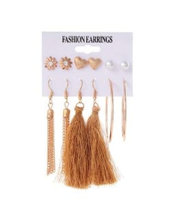 Brown Cotton Threads Chain Tassel and Hoops 6 pcs High Fashion Women Earrings Set